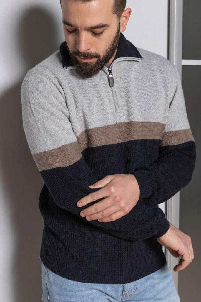 Lupetto zip con vari punti maglia e vanisé