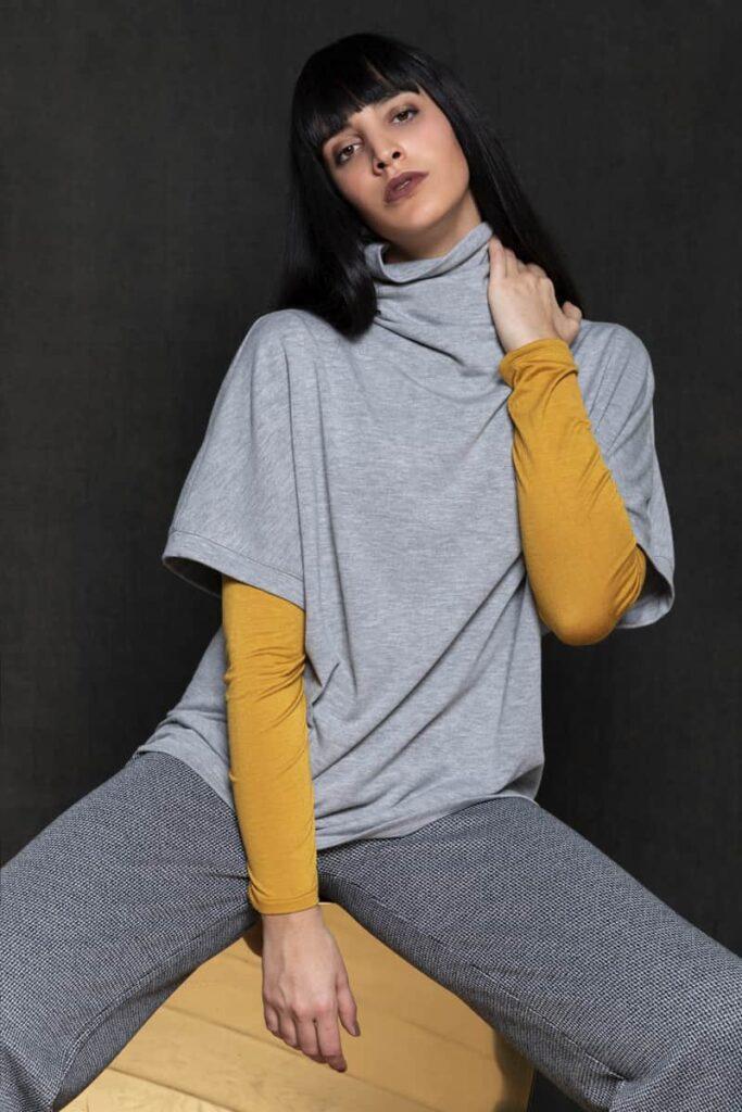 maxigilè collo alto e dolcevita jersey e pantalone microjacquard